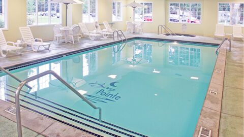 A photo of a pool at a hotel to relax in after hiking West Michigan trails.